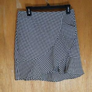Boohoo Checkered Ruffle Skirt
